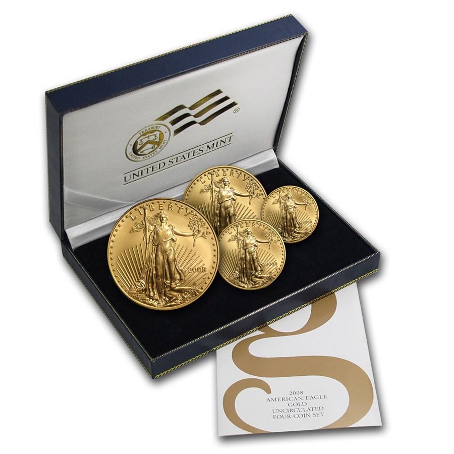 2008-W 4-Coin Burnished American Gold Eagle Set (w/Box & COA)