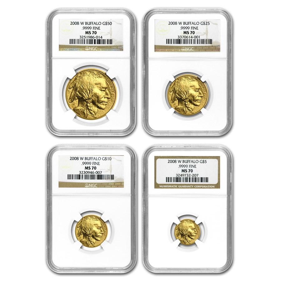 2008-W 4-Coin Gold Buffalo Set MS-70 NGC