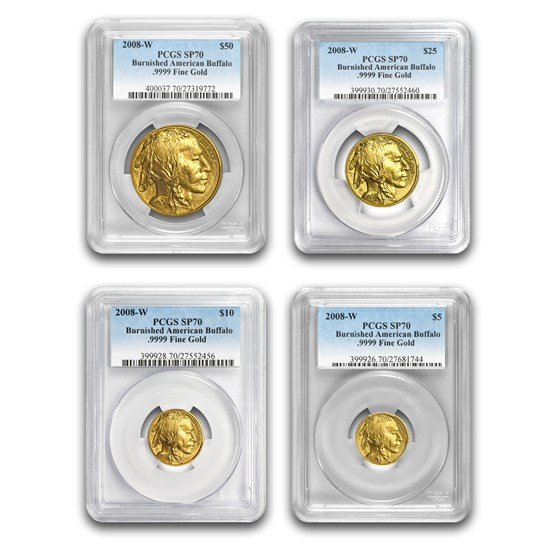 2008-W 4-Coin Gold Buffalo Set SP/MS-70 PCGS