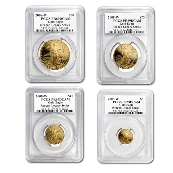 2008-W 4-Coin Proof American Gold Eagle Set PR-69 PCGS