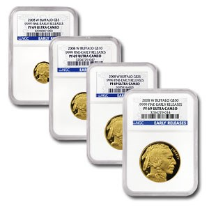 2008-W 4-Coin Proof Gold Buffalo Set PF-69 NGC (Early Releases)