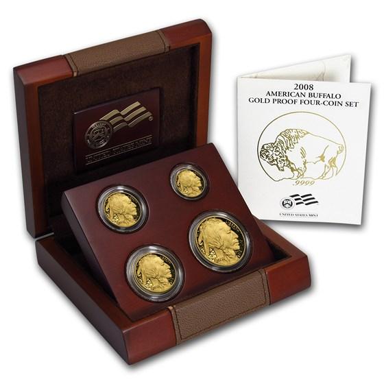 2008-W 4-Coin Proof Gold Buffalo Set (w/Box & COA)