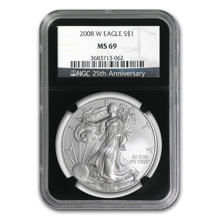 2008-W Burnished American Silver Eagle MS-69 NGC (Black Insert)
