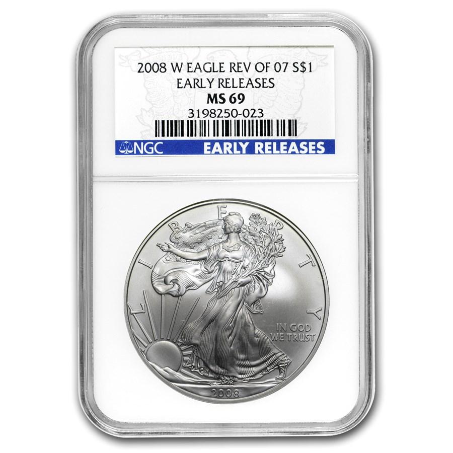 2008-W Burnished American Silver Eagle MS-69 NGC (ER, Rev '07)