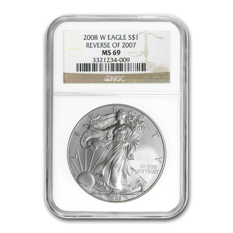 2008-W Burnished American Silver Eagle MS-69 NGC (Rev '07)