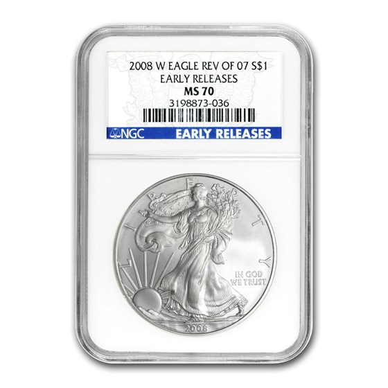 2008-W Burnished American Silver Eagle MS-70 NGC (ER, Rev '07)
