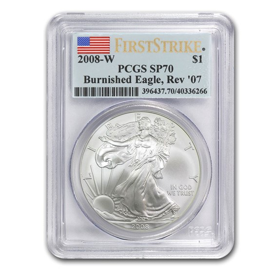2008-W Burnished American Silver Eagle SP/MS-70 PCGS (FS Rev '07)