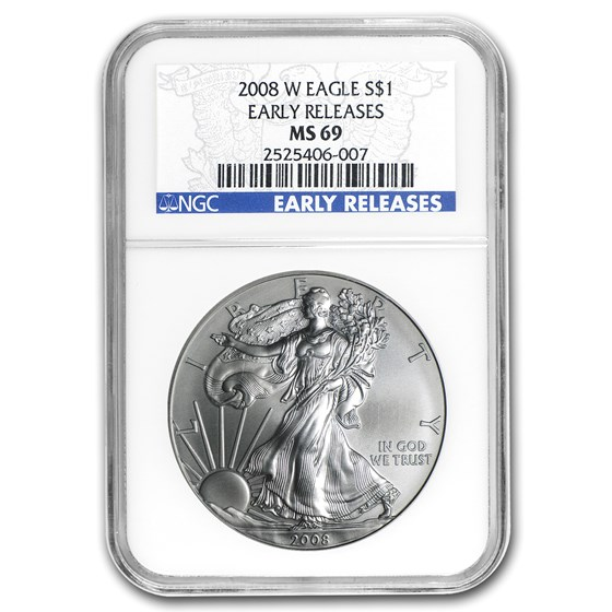 2008-W Burnished Silver American Eagle MS-69 NGC (ER)