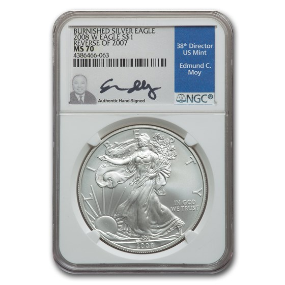 2008-W Burnished Silver American Eagle MS-70 NGC (Rev '07, Moy)