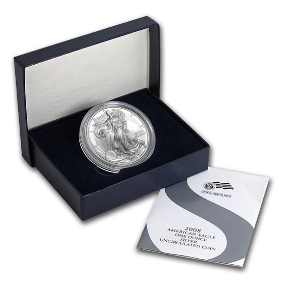 2008-W Burnished Silver American Eagle (Rev '07, w/Box & COA)