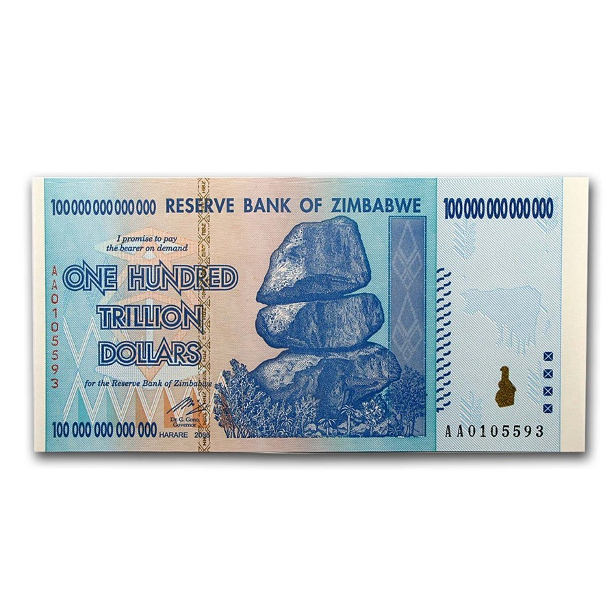 2008 Zimbabwe 100 Trillion Dollars Waterfall Buffalo Unc