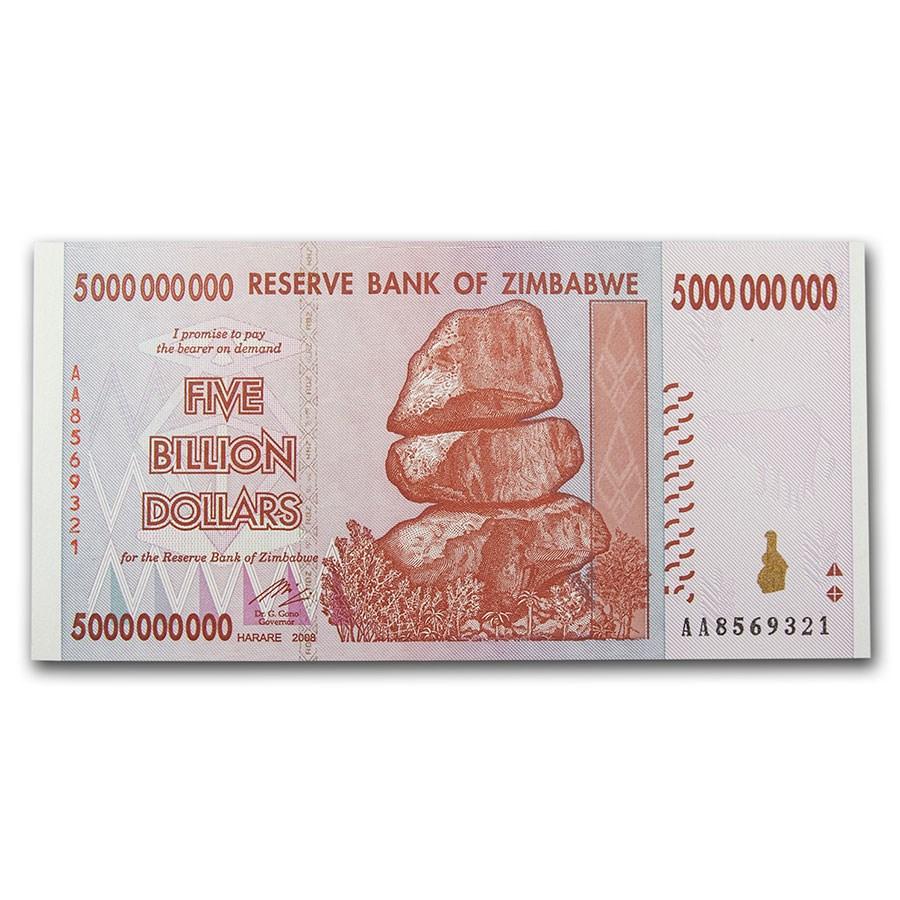 2008 Zimbabwe 5 Billion Dollars Rock Formation Farm Unc