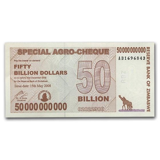 2008 Zimbabwe 50 Billion Dollars Giraffe Grain Elevators Unc