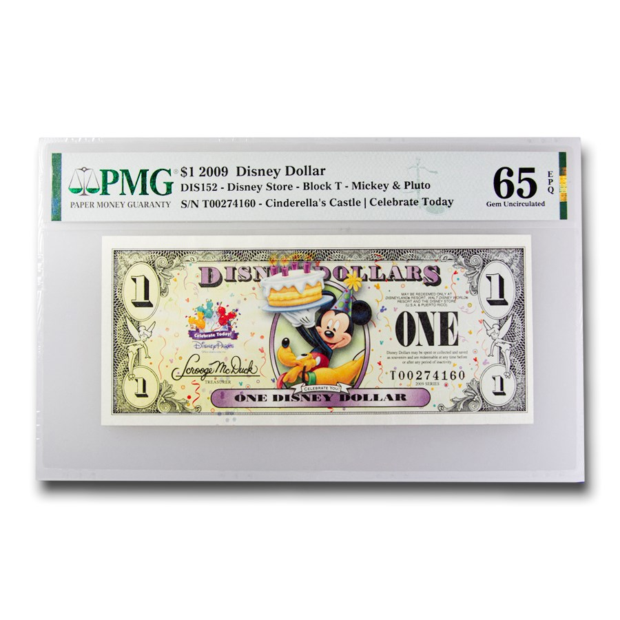 2009 $1.00 Disney Celebrate Mickey & Pluto Gem CU-65 EPQ PMG