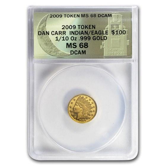 2009 1/10 oz Au $100 Indian Head Token MS-68 ANACS (Daniel Carr)
