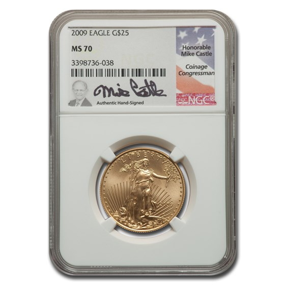 2009 1/2 oz American Gold Eagle MS-70 NGC (Castle)