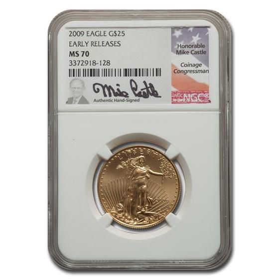 2009 1/2 oz American Gold Eagle MS-70 NGC (ER, Castle)