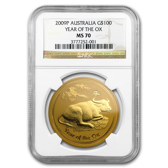 2009 1 oz Gold Lunar Year of the Ox MS-70 NGC (Series II)