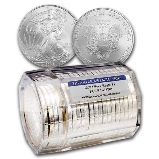 2009 20-Coin Silver American Eagle Sealed Tube Gem BU PCGS