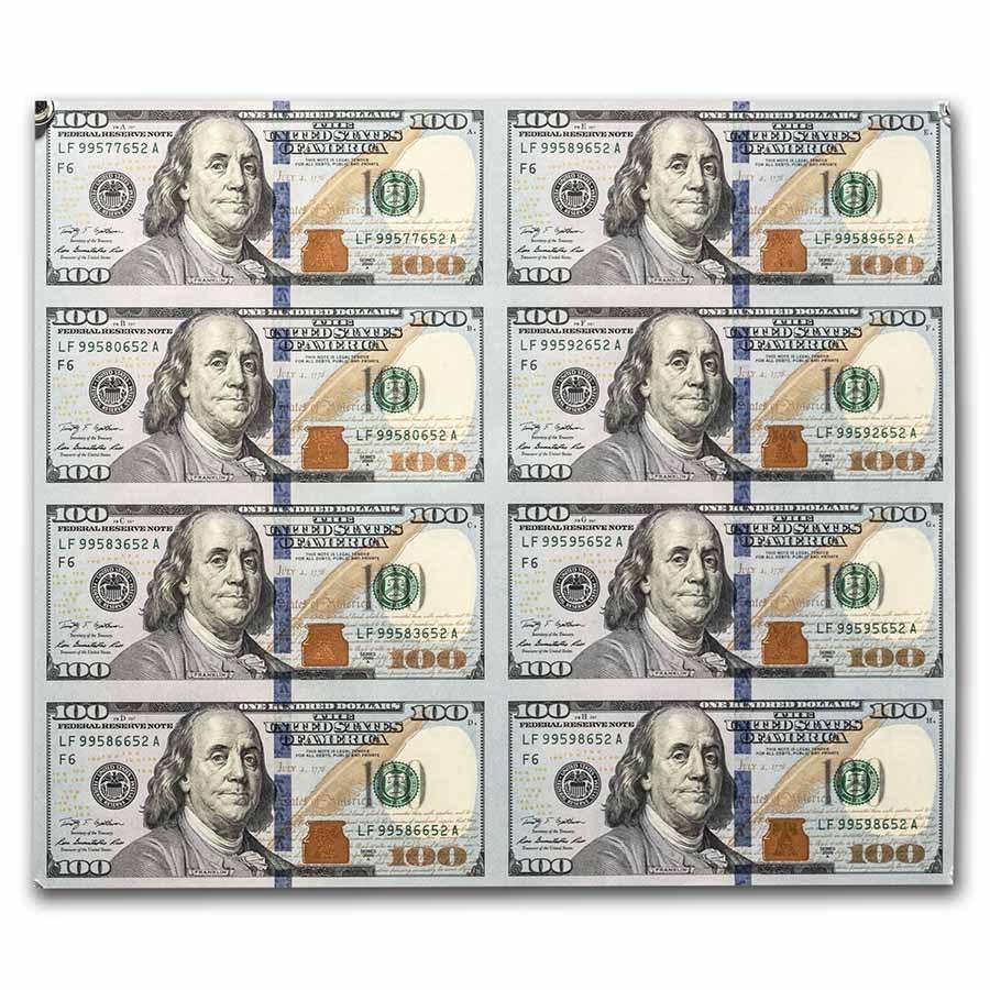 2009-A (F-Atlanta) $100 FRN CU (Fr#TBD) 8 Note Uncut Sheet