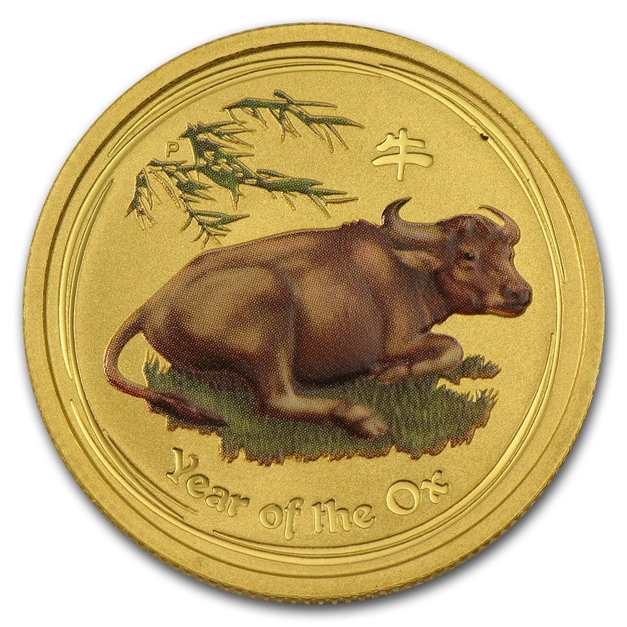 2009 Australia 1/4 oz Gold Lunar Ox BU (SII, Colorized)