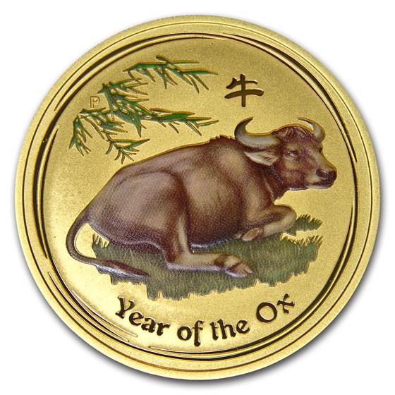 2009 Australia 1 oz Gold Lunar Ox BU (SII, Colorized)