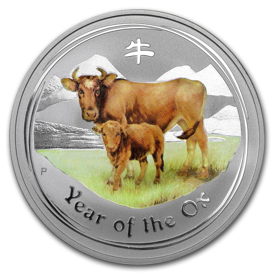 2009 Australia 1 oz Silver Ox BU (Series II, Colorized)