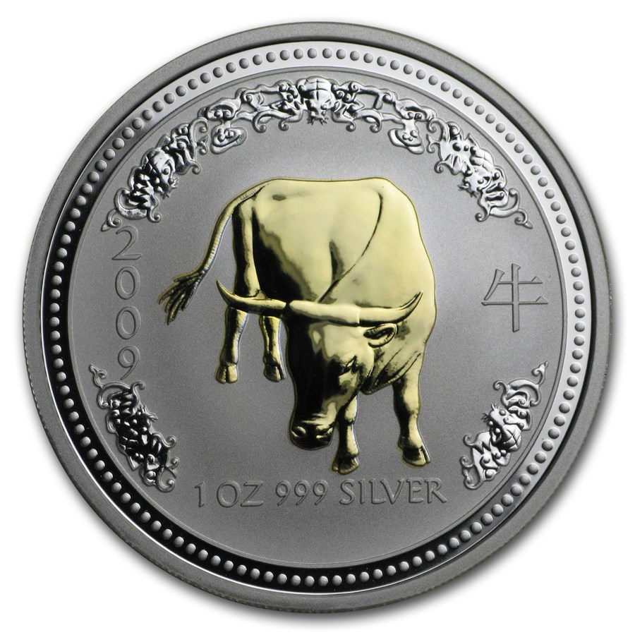 2009 Australia 1 oz Silver Year of the Ox BU (Series I, Gilded)