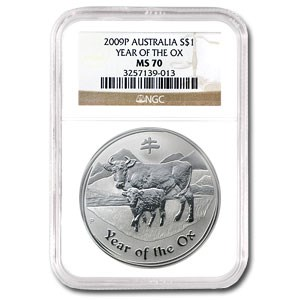 2009 Australia 1 oz Silver Year of the Ox MS-70 NGC (Series II)