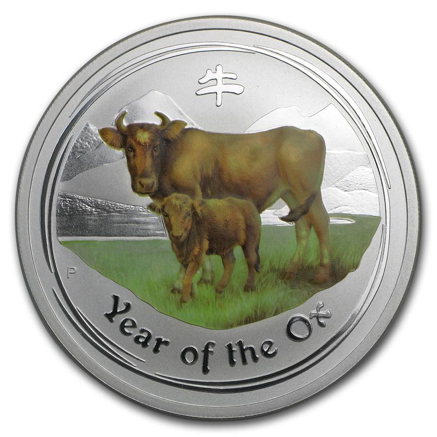 2009 Australia 2 oz Silver Colorized Year of the Ox BU