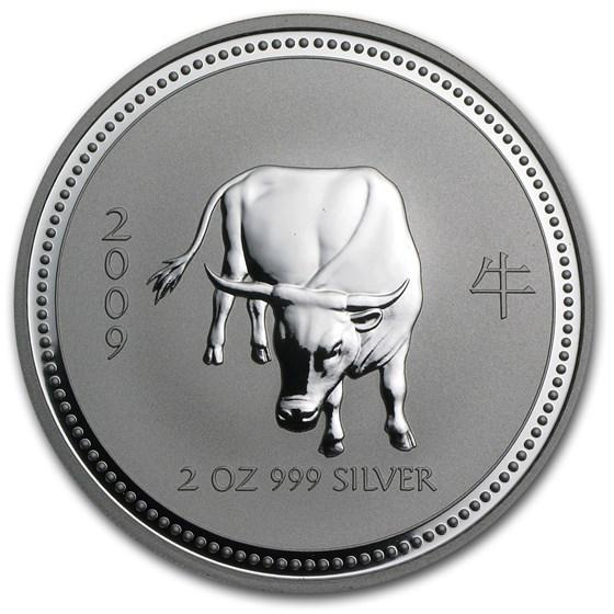 2009 Australia 2 oz Silver Year of the Ox BU (Series I)