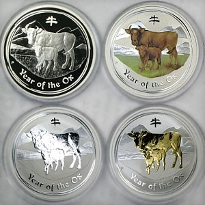 2009 Australia 4-Coin 1 oz Silver Year of the Ox Proof Type Set