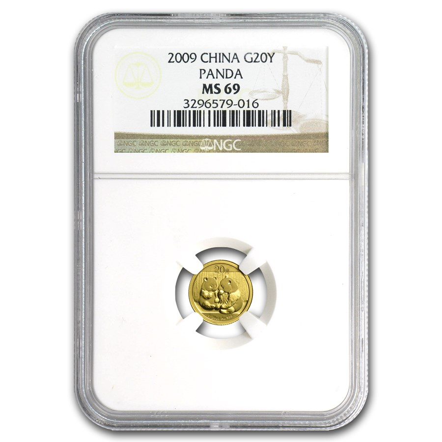 2009 China 1/20 oz Gold Panda MS-69 NGC