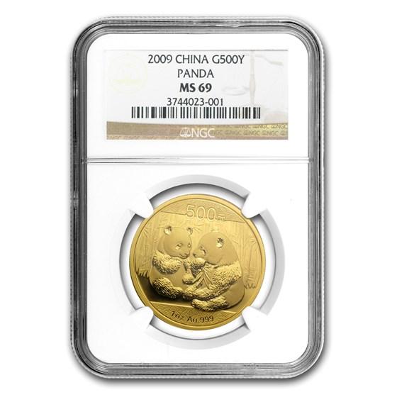 2009 China 1 oz Gold Panda MS-69 NGC