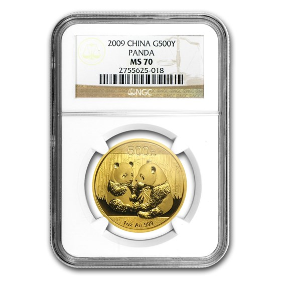 2009 China 1 oz Gold Panda MS-70 NGC