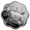 2009 China 1 oz Silver Flower Year of the Ox (w/Box & COA)