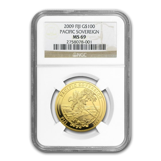 2009 Fiji 1 oz Gold $100 Pacific Sovereign MS-69 NGC