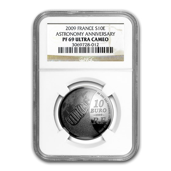 2009 France Silver €10 International Year of Astronomy PF-69 NGC