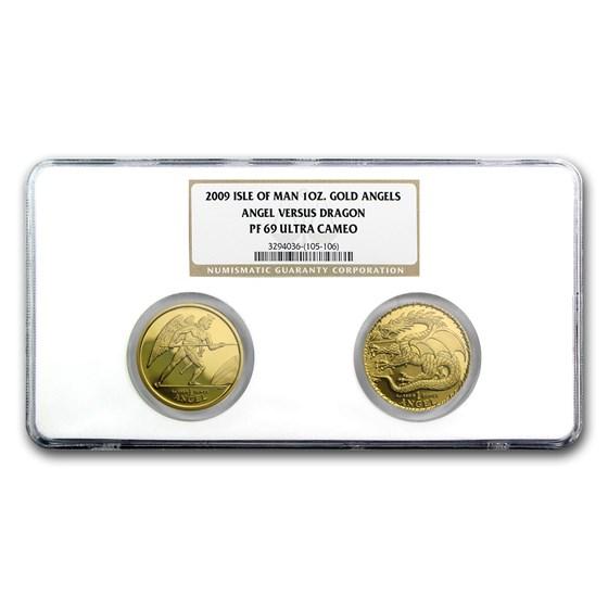 2009 Isle of Man 2-Coin 1 oz Gold Angel vs Dragon Set PF-69 NGC