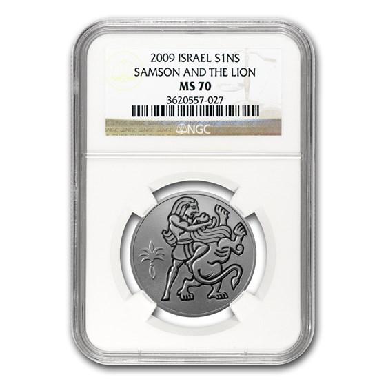 2009 Israel Silver 1 NIS Samson and the Lion MS-70 NGC