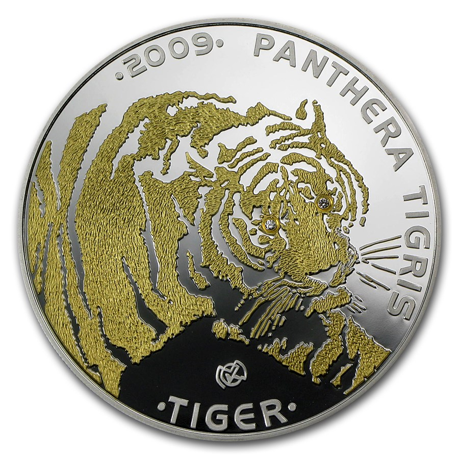 2009 Kazakhstan Silver 100 Tenge Endangered Animal Tiger Proof