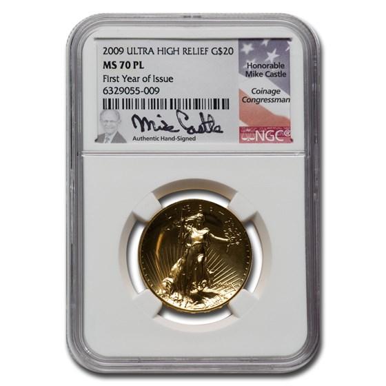 2009 (MMIX) UHR Gold Double Eagle MS-70 PL NGC (Mike Castle)