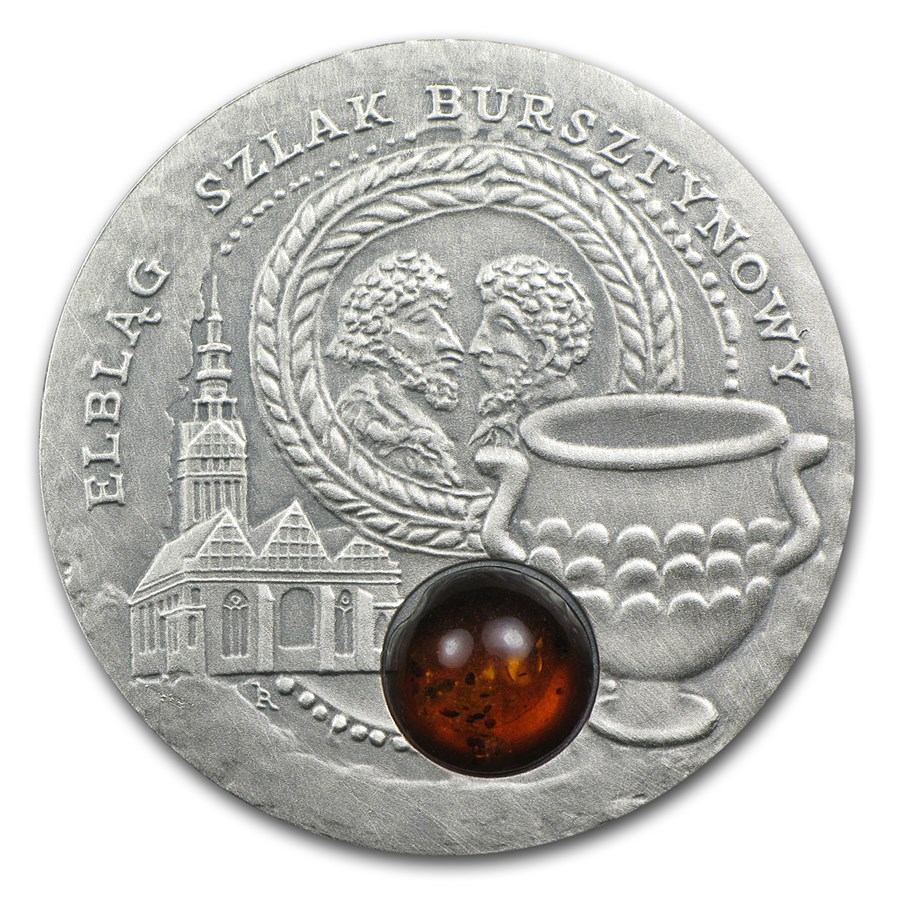 2009 Niue Silver $1 Amber Route Series Elblag