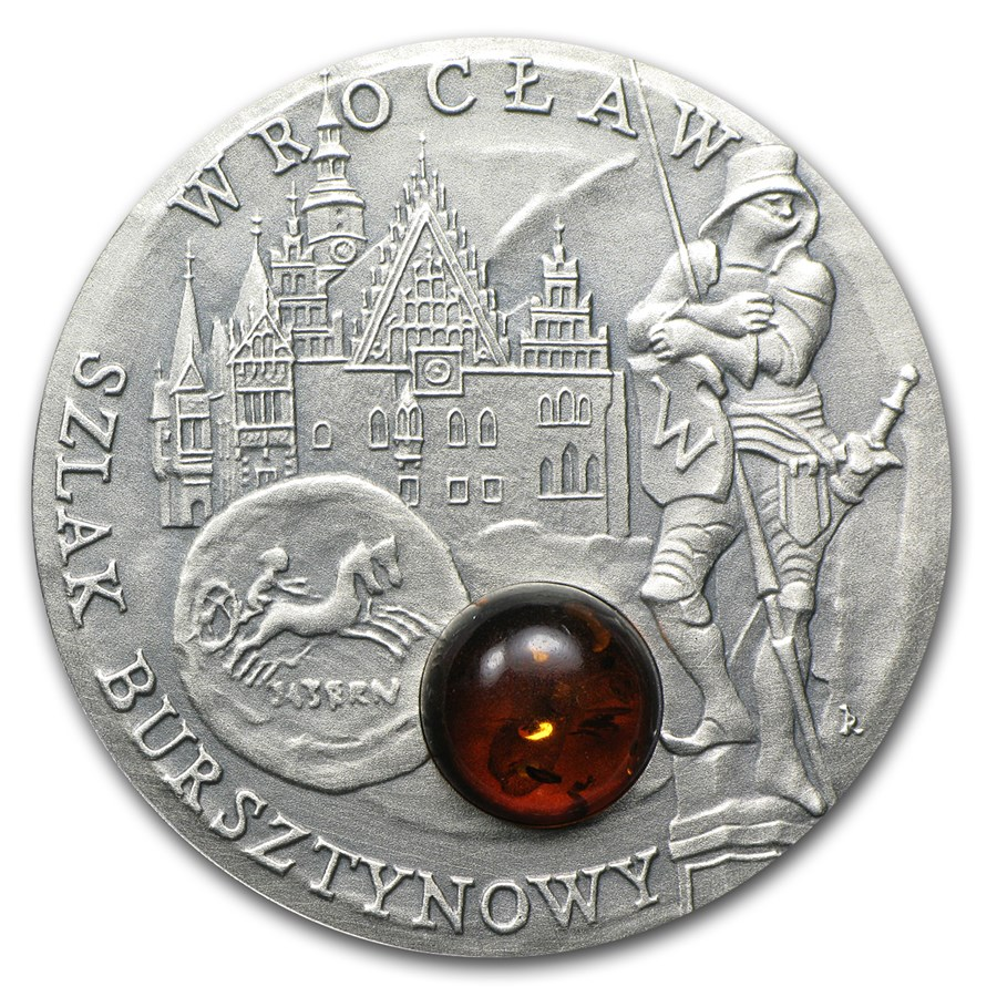 2009 Niue Silver $1 Amber Route Series Wroclaw