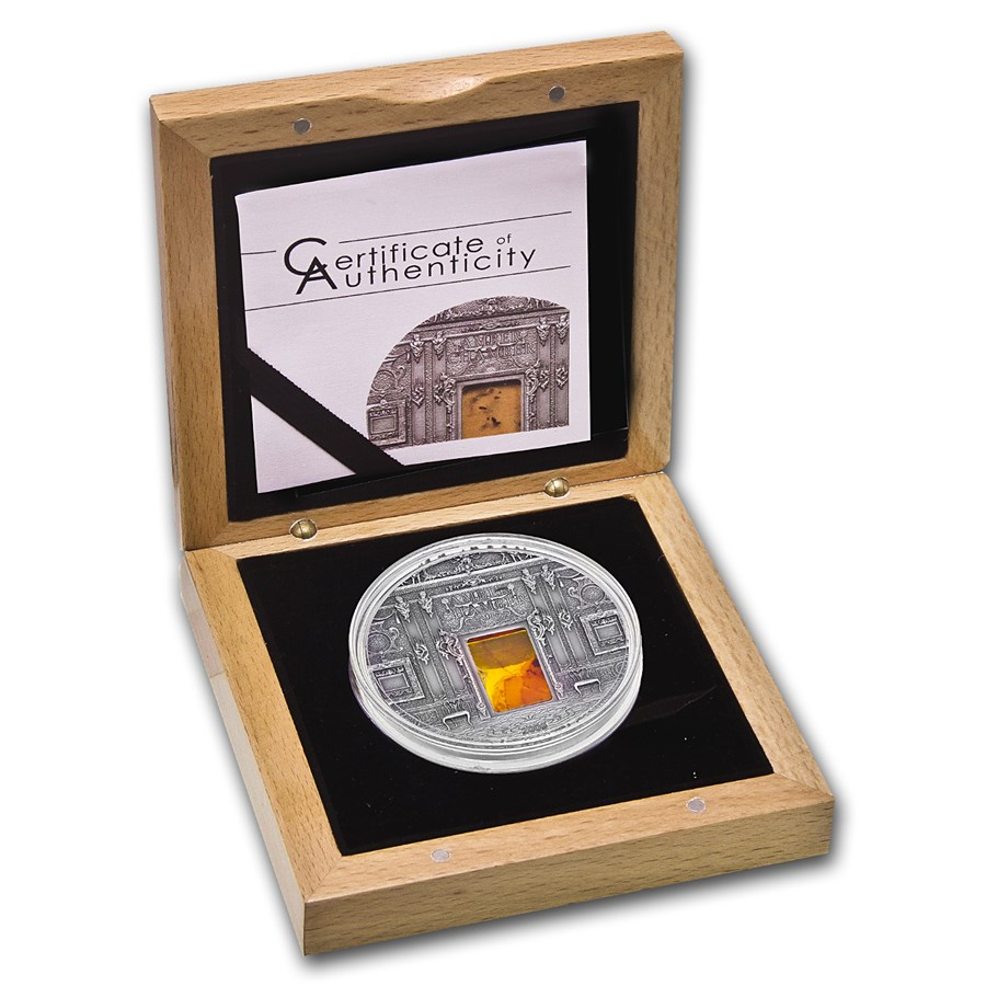 2009 Palau Silver $10 Amber Room Coin w/Genuine Amber Insert