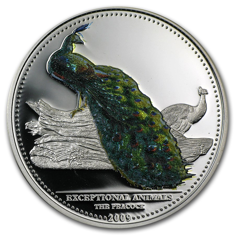 2009 Palau Silver $5 Exceptional Animals Peacock