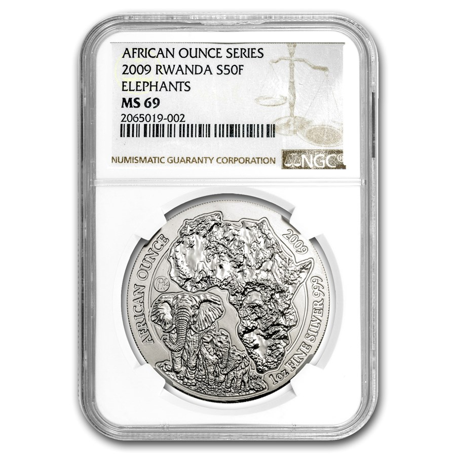 2009 Rwanda 1 oz Silver African Elephant MS-69 NGC