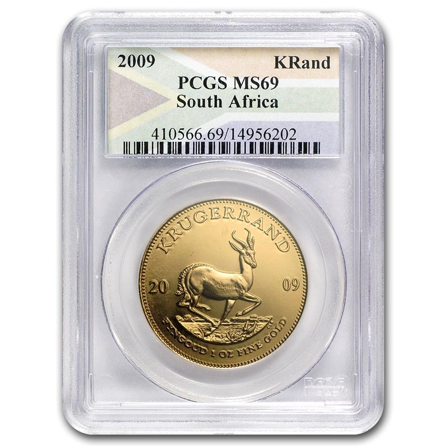 2009 South Africa 1 oz Gold Krugerrand MS-69 PCGS