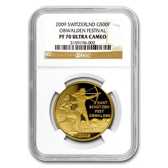 2009 Switzerland Gold 500 Francs Obwalden Festival PF-70 NGC