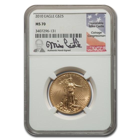 2010 1/2 oz American Gold Eagle MS-70 NGC (Castle)